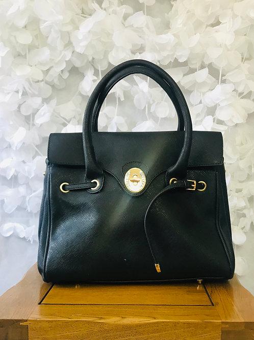 Black Twist Lock Shoulder Bag