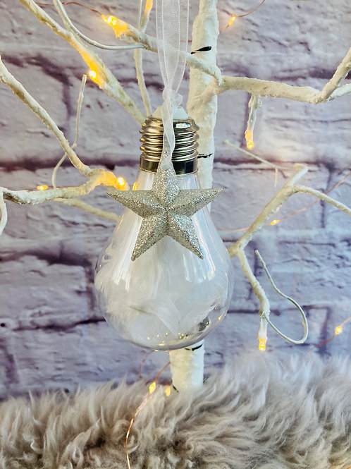 Feather Bulb Bauble in White