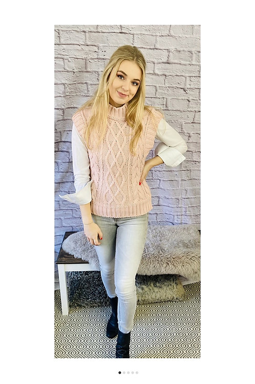 High Neck Knitted Vest in Pink