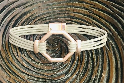 Hexagon Charm Leather Bracelet