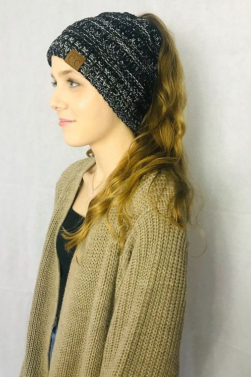Black & Grey Ponytail Beanie