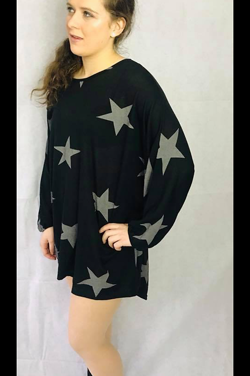 Black Sloppy Joe Top with Charcoal Stars
