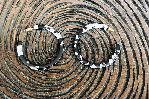 Black and White Hoop Earrings