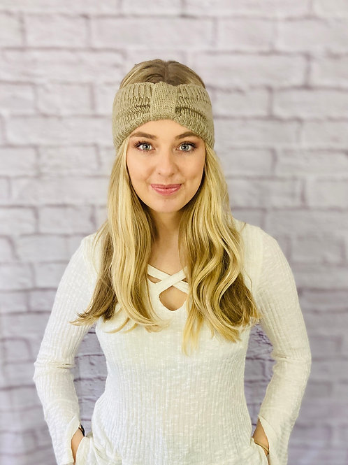 Knitted Bow Headband in Beige