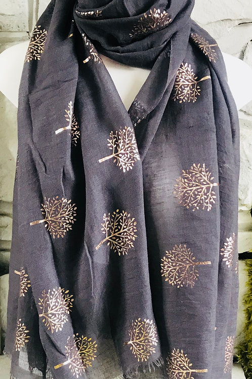 Charcoal Rose Gold Tree Print Scarf