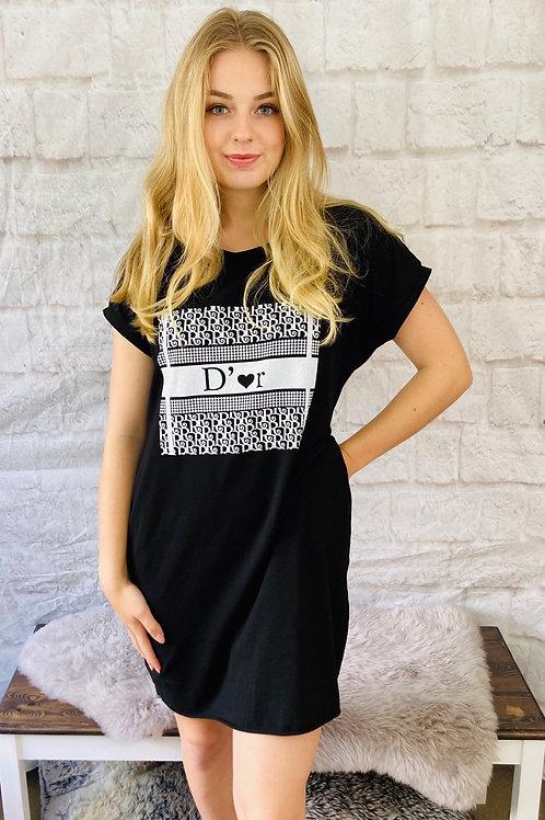 D'Or Print T-Shirt Dress in Black