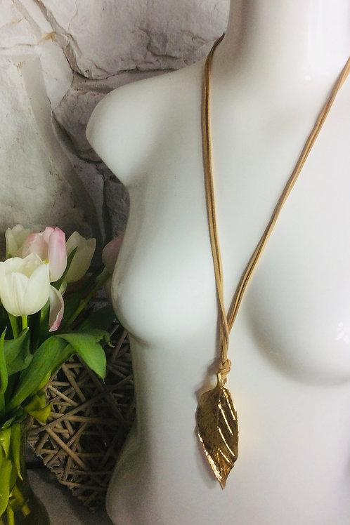 Large Gold Leaf Long Necklace
