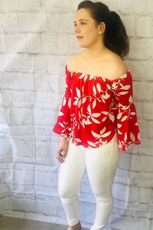 Red Flute Sleeve Bardot Top