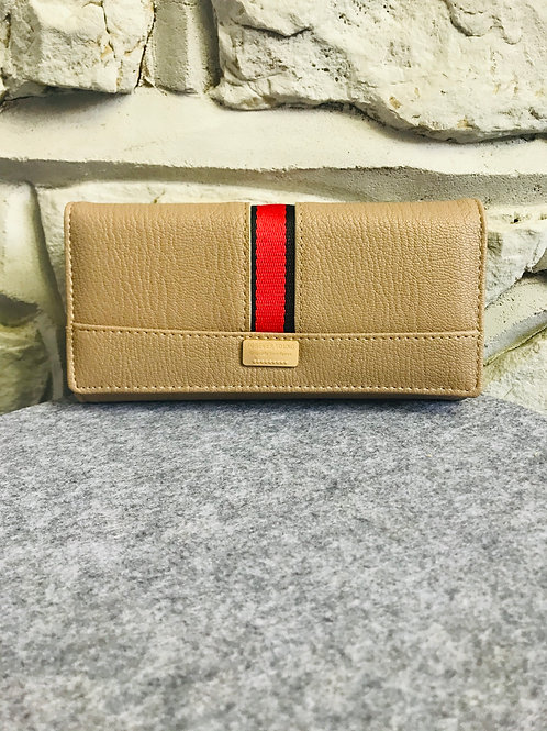 Red Stripe Wallet in Beige