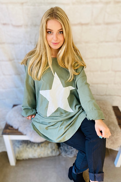 Khaki Star Oversized Top