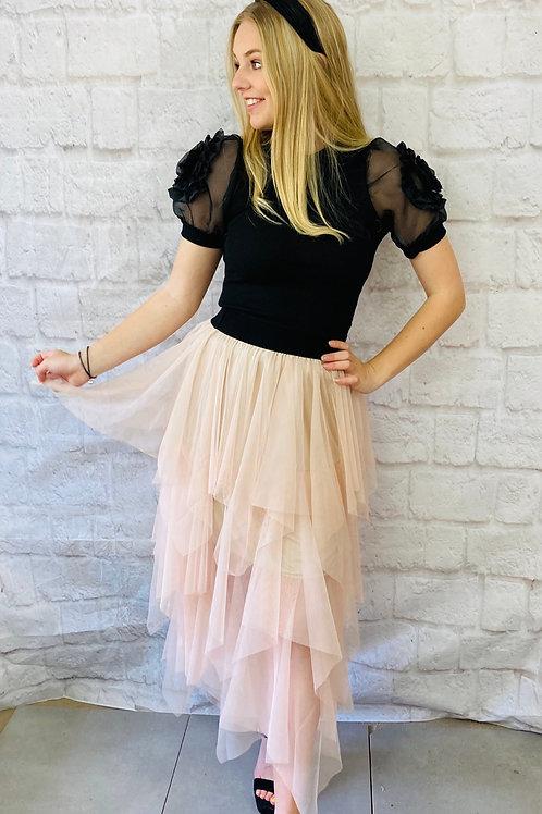 Layered Mesh Midi Skirt in Peach