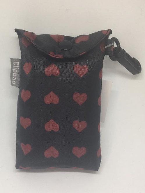 Black hearts clip bag