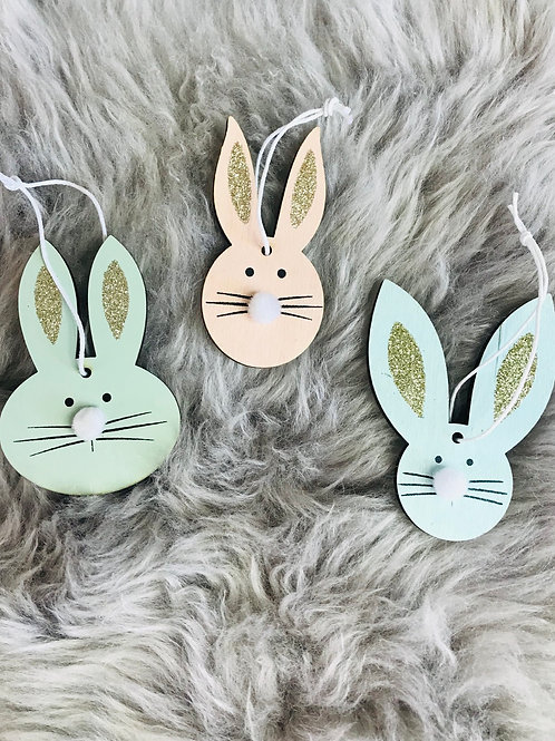 3 Glitter Ears Bunny Decorations