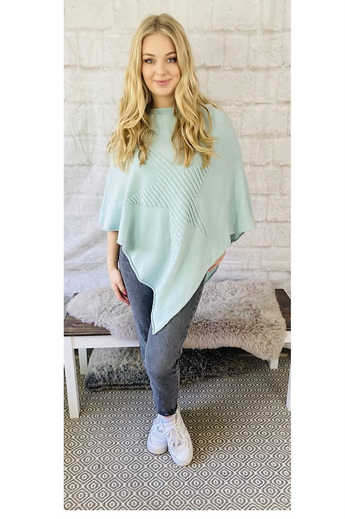 Ribbed Star Poncho in Mint