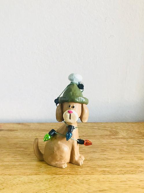Brown Festive Dog Ornament