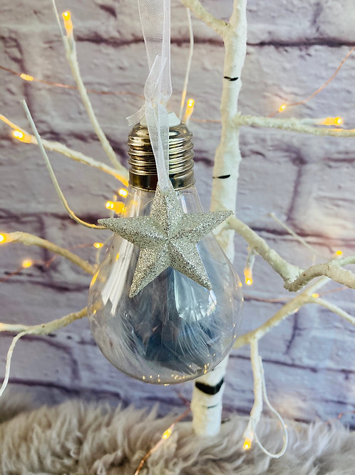 Feather Bulb Bauble in Grey