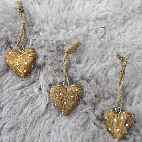 Set of Three Wooden Polka Dot Hearts
