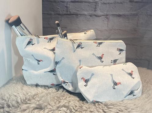 Bird Print Set of Three Cosmetic Bags