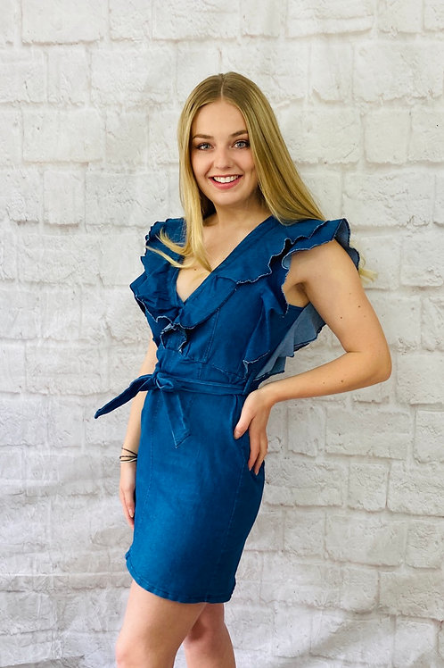 Denim Frill Mini Dress