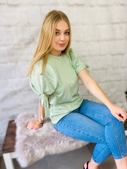 Mint Tie Up Puffed Sleeve T-Shirt