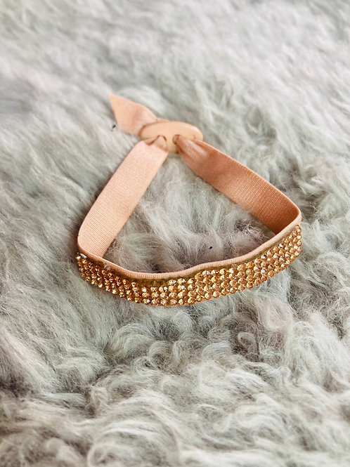 Stretchy Fabric Bracelet with Crystals in Rose Gold