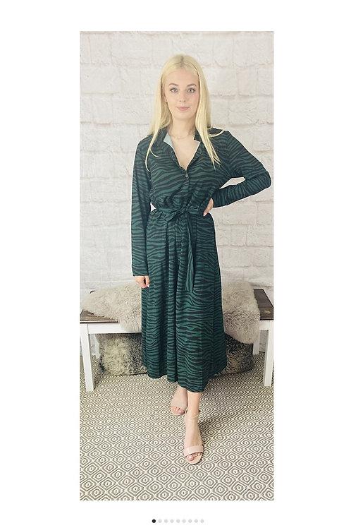 Animal Print Maxi Dress in Jade