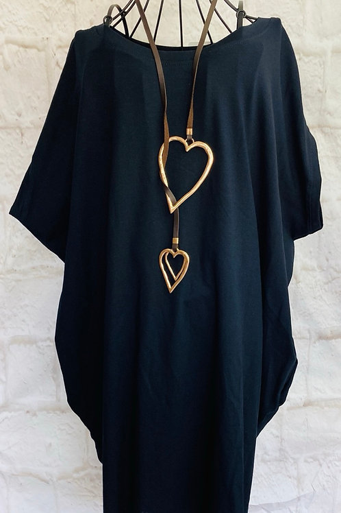 Oversized Top With Statement Necklace in Navy