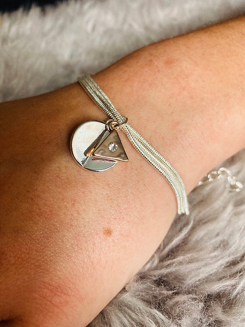 Two Tone Circle & Triangle Charm Bracelet