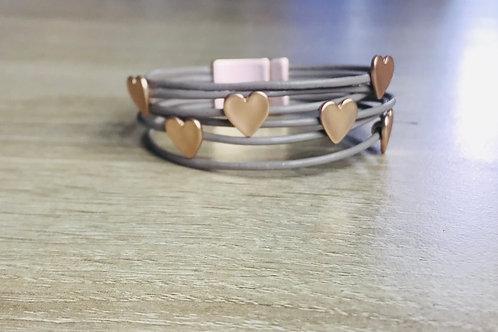Rose Gold Floating Hearts Bracelet