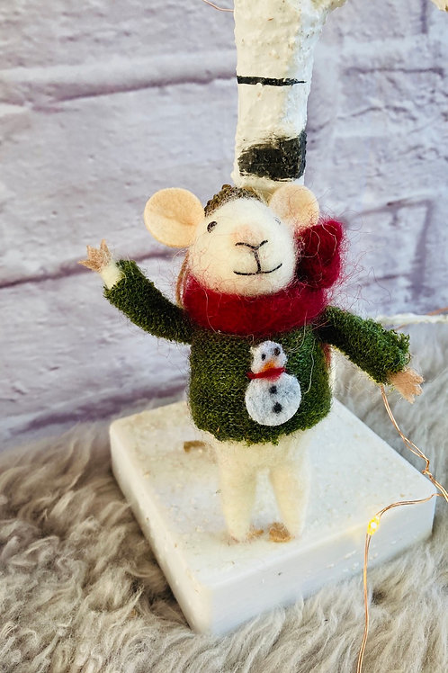 'Mitchell' Mouse in Snowman Jumper