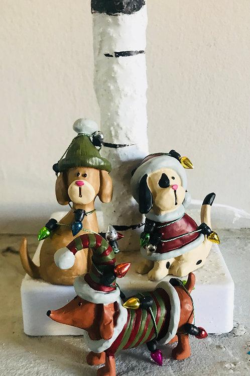 Set of 3 Festive Dog Ornaments
