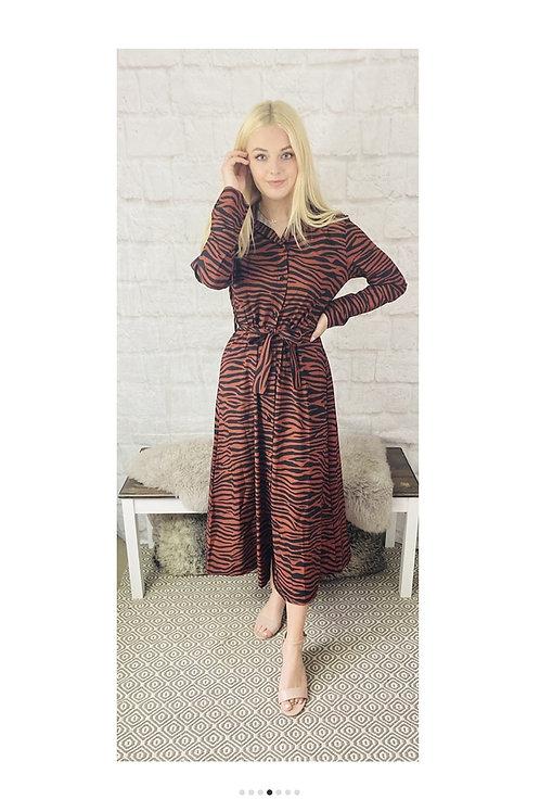 Animal Print Maxi Dress in Rust