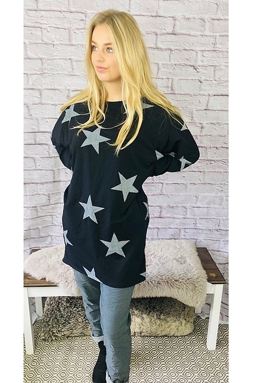 All the Stars Oversized Top in Black