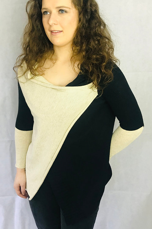 Two Tone Cowl Neck Jumper