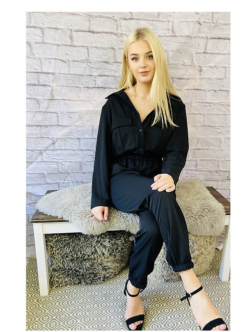 Utility Style Jumpsuit in Black