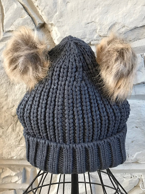 Grey Double Pom Pom Hat