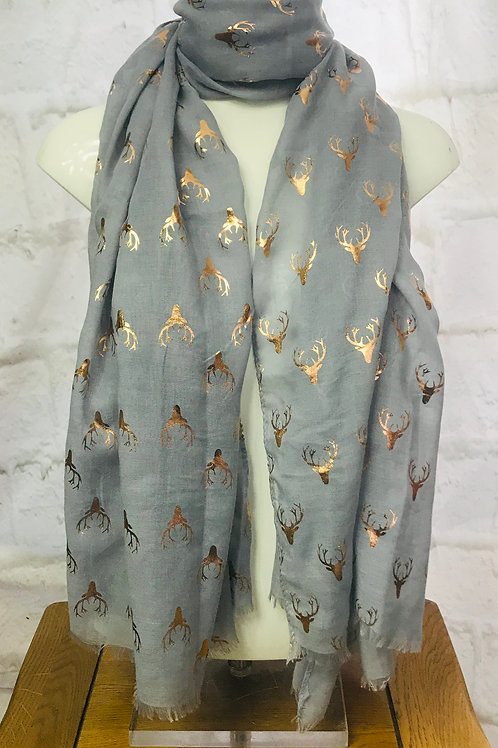 Light Grey Rose Gold Stag Print Scarf