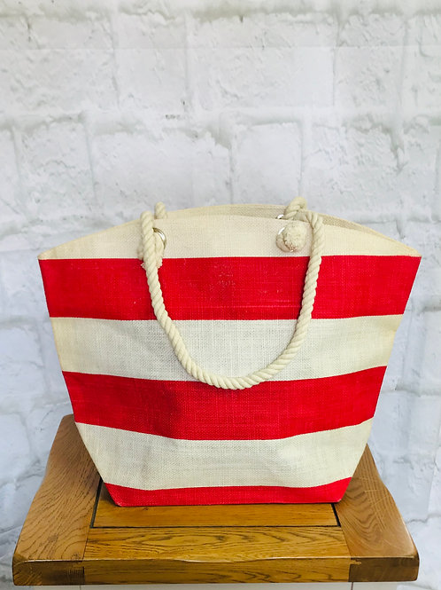 Red Stripe Beach Bag