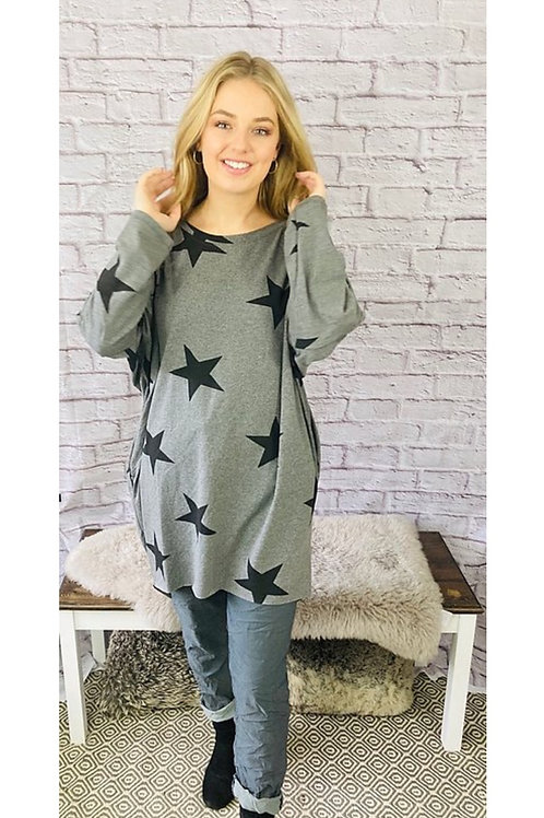 All the Stars Oversized Top in Grey