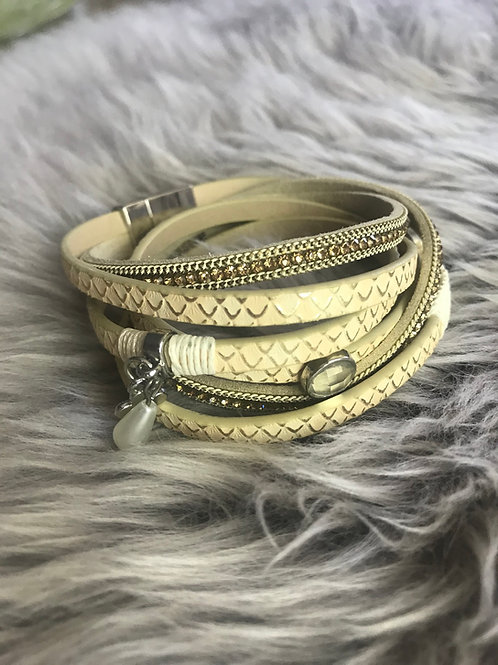 Cream Wrap Bracelet with Charms
