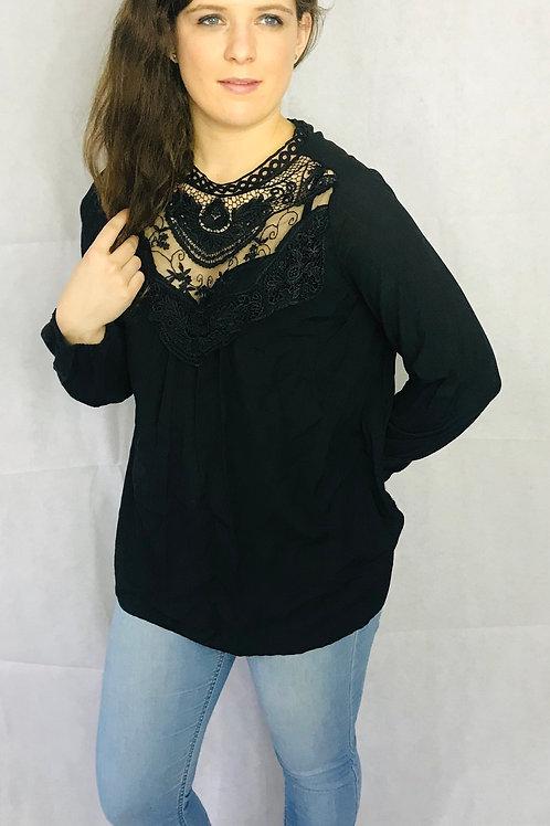 Black Lace Detail Blouse