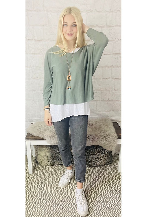 Layered Floaty Top with Necklace in Khaki