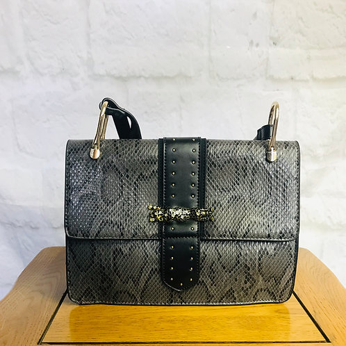 Snakeskin Crossbody Bag with Leopard Buckle