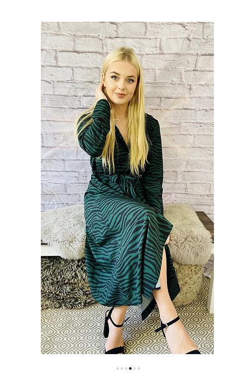 Tiger Print Maxi Dress in Jade