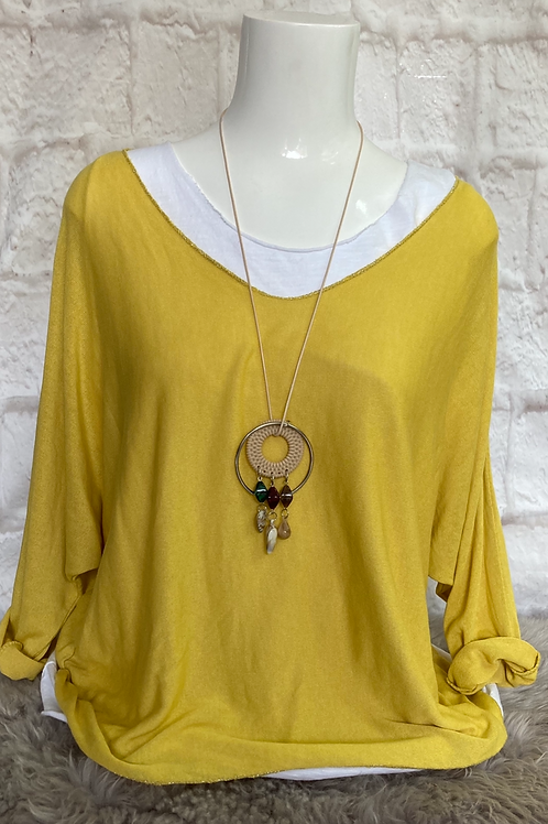Mustard Layered Top with Necklace
