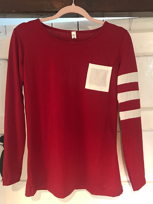 Red Top with White Stripe Detail