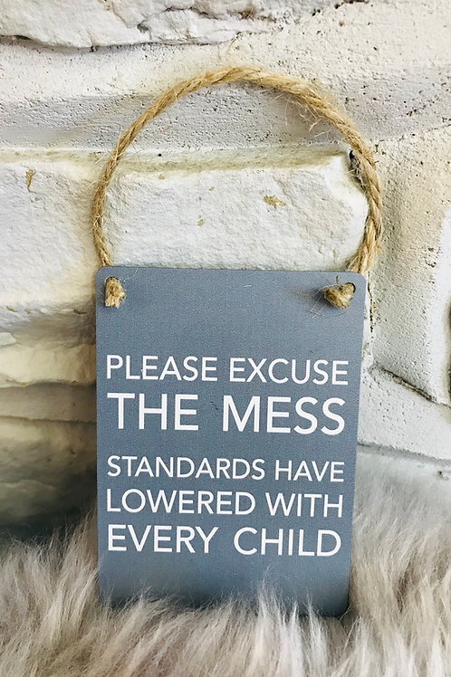 'Please excuse the mess' Hanging Mini Sign