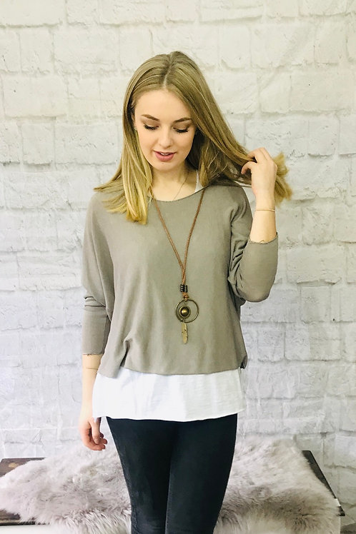 Mocha Layered Top with Necklace