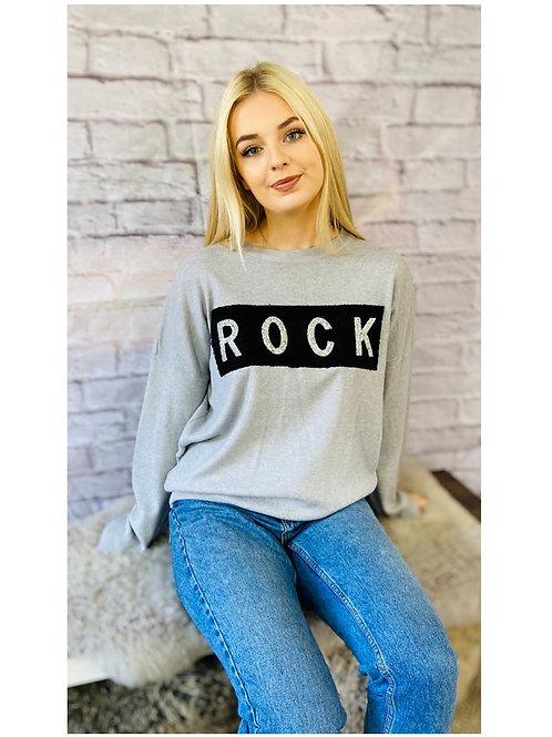 'Rock' Sequin Jumper in Grey