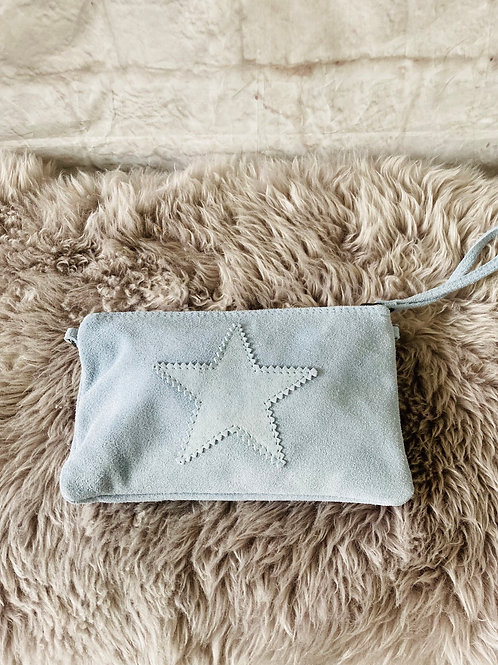 Suede Star Clutch Bag in Baby Blue